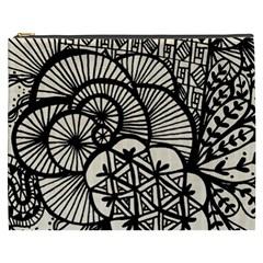 Background Abstract Beige Black Cosmetic Bag (xxxl)  by Celenk