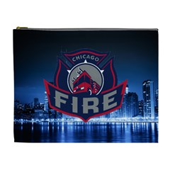 Chicago Fire With Skyline Cosmetic Bag (xl) by allthingseveryone