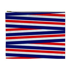 Red White Blue Patriotic Ribbons Cosmetic Bag (xl) by Celenk