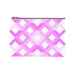 Geometric Chevrons Angles Pink Cosmetic Bag (large)  by Celenk