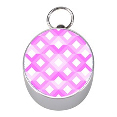 Geometric Chevrons Angles Pink Mini Silver Compasses by Celenk