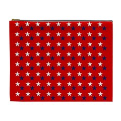 Patriotic Red White Blue Usa Cosmetic Bag (xl) by Celenk