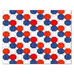 Geometric Design Red White Blue Rectangular Jigsaw Puzzl by Celenk