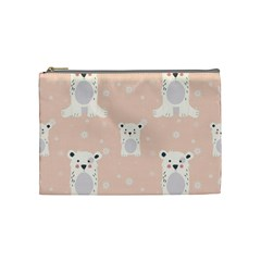Cute Polar Bear Pattern Cosmetic Bag (medium)  by allthingseveryday