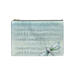 Vintage Blue Music Notes Cosmetic Bag (medium)