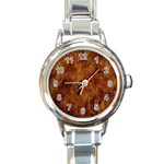 Abstract Flames Fire Hot Round Italian Charm Watch