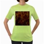 Abstract Flames Fire Hot Women s Green T-Shirt