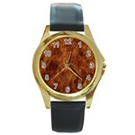 Abstract Flames Fire Hot Round Gold Metal Watch
