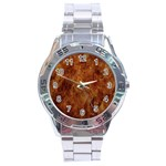 Abstract Flames Fire Hot Stainless Steel Analogue Watch