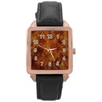 Abstract Flames Fire Hot Rose Gold Leather Watch