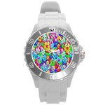 Flowers Ornament Decoration Round Plastic Sport Watch (L)
