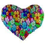 Flowers Ornament Decoration Large 19  Premium Heart Shape Cushions