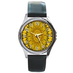 Pattern Petals Pipes Plants Round Metal Watch