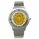 Pattern Petals Pipes Plants Stainless Steel Watch