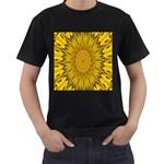 Pattern Petals Pipes Plants Men s T-Shirt (Black)