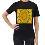 Pattern Petals Pipes Plants Women s T-Shirt (Black)