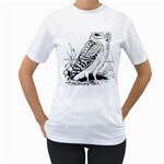 Animal Bird Forest Nature Owl Women s T-Shirt (White) (Two Sided)