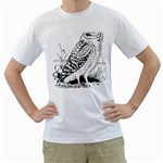 Animal Bird Forest Nature Owl Men s T-Shirt (White) (Two Sided)