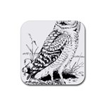 Animal Bird Forest Nature Owl Rubber Square Coaster (4 pack)