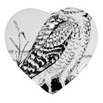 Animal Bird Forest Nature Owl Heart Ornament (Two Sides)
