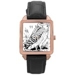 Animal Bird Forest Nature Owl Rose Gold Leather Watch