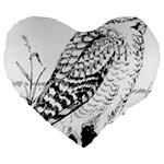 Animal Bird Forest Nature Owl Large 19  Premium Flano Heart Shape Cushions