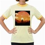 Design Art Hill Hut Landscape Women s Fitted Ringer T-Shirts