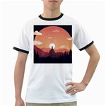 Design Art Hill Hut Landscape Ringer T-Shirts