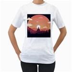 Design Art Hill Hut Landscape Women s T-Shirt (White)