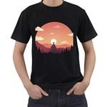 Design Art Hill Hut Landscape Men s T-Shirt (Black) (Two Sided)