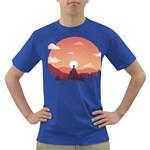 Design Art Hill Hut Landscape Dark T-Shirt