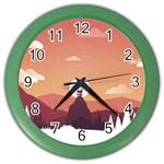 Design Art Hill Hut Landscape Color Wall Clocks