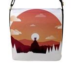Design Art Hill Hut Landscape Flap Messenger Bag (L)