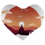 Design Art Hill Hut Landscape Large 19  Premium Flano Heart Shape Cushions