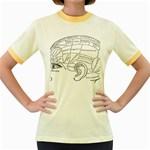 Brain Chart Diagram Face Fringe Women s Fitted Ringer T-Shirts