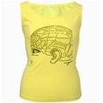 Brain Chart Diagram Face Fringe Women s Yellow Tank Top
