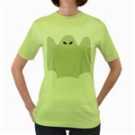 Ghost Halloween Spooky Horror Fear Women s Green T-Shirt