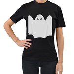 Ghost Halloween Spooky Horror Fear Women s T-Shirt (Black) (Two Sided)