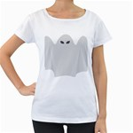 Ghost Halloween Spooky Horror Fear Women s Loose-Fit T-Shirt (White)