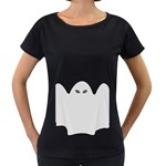 Ghost Halloween Spooky Horror Fear Women s Loose-Fit T-Shirt (Black)