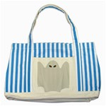 Ghost Halloween Spooky Horror Fear Striped Blue Tote Bag