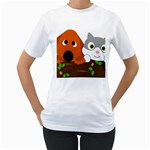 Baby Decoration Cat Dog Stuff Women s T-Shirt (White) (Two Sided)