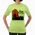 Baby Decoration Cat Dog Stuff Women s Green T-Shirt