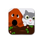 Baby Decoration Cat Dog Stuff Rubber Square Coaster (4 pack)