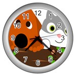 Baby Decoration Cat Dog Stuff Wall Clocks (Silver)