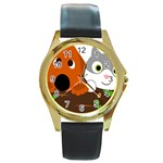 Baby Decoration Cat Dog Stuff Round Gold Metal Watch