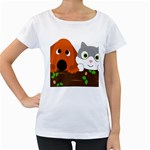 Baby Decoration Cat Dog Stuff Women s Loose-Fit T-Shirt (White)