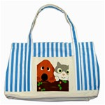 Baby Decoration Cat Dog Stuff Striped Blue Tote Bag