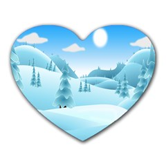 Landscape Winter Ice Cold Xmas Heart Mousepads from DesignYourOwnGift.com Front