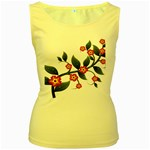 Flower Branch Nature Leaves Plant Women s Yellow Tank Top